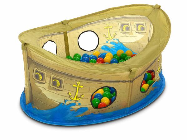 Piratenboot mit Bällen (BHT 110x50x75 cm)